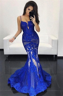 Spaghetti Straps V-neck Floor-length Lace Appliques Mermaid Prom Dresses