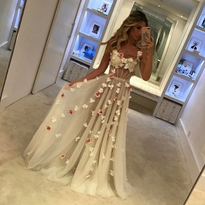 Open Back Flowers Long Prom Dresses Cheap | Spaghetti Straps Sexy Formal Evening Gowns_1