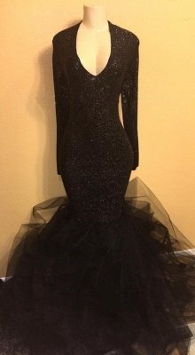 Black Long Prom Dresses Cheap with Sleeves   Mermaid Formal Dresses Plus Size BA8155_1