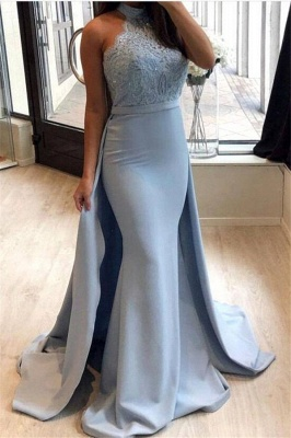 Sexy Sheath High-Neck Prom Dresses | Lace Sleeveless Eveniing Dresses with Detachable Skirt_1