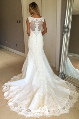 Elegant Mermaid Sleeveless Wedding Gowns | Lace Appliques Bridal Dresses_4