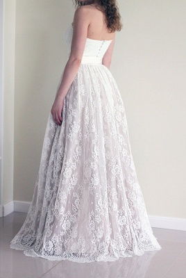 Sleeveless New Arrival A-line Sweetheart Simple Lace Long Sash Wedding Dresses_3