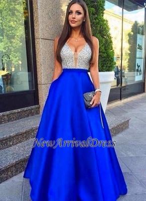 Royal-Blue Sleeveless V-Neck Puffy Pockets Beaded Prom Dress ly77_3