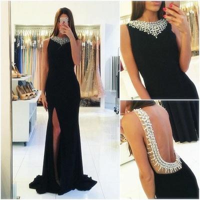 Sheath Side-Slit Sexy Beaded Popular Sleeveless Black Backless Prom Dress_3