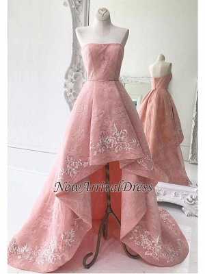 High-Low Strapless Custom Made A-line Embroidery Lace Exquisite Long Prom Dresses Cheap_1