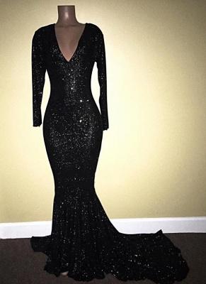 V-Neck Sequins Mermaid Long Sleeve Shiny Black Long Prom Dresses Cheap   Black Prom Dresses Cheap_3