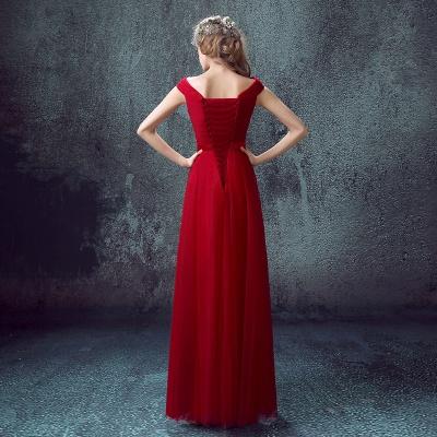 Newest Red Off-the-shoulder A-line Prom DressLace-up Floor-length_5