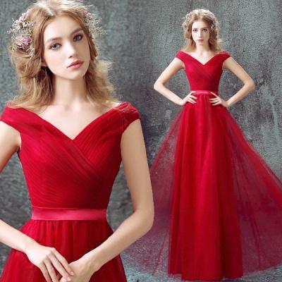 Newest Red Off-the-shoulder A-line Prom DressLace-up Floor-length_3