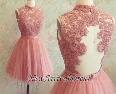 New Arrival High Neck Sleeveless Appliques Lace Mini Sexy Short Homecoming Dresses_3