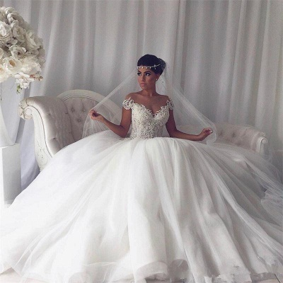 Popular Ball Gown New Arrival Lace Off The Shoulder Elegant Wedding Dresses | Ivory Bridal Gowns_4