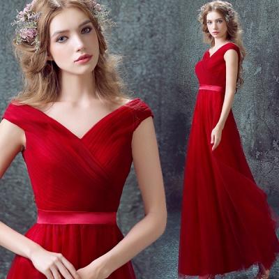 Newest Red Off-the-shoulder A-line Prom DressLace-up Floor-length_4