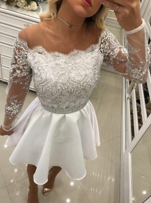 Delicate White Lace Pearls Long Sleeve Off Shoulder Short Homecoming Dress BA6958_1