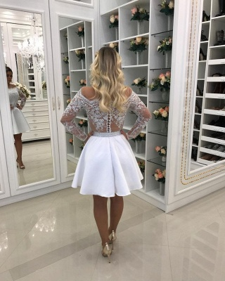 Delicate White Lace Pearls Long Sleeve Off Shoulder Short Homecoming Dress BA6958_3