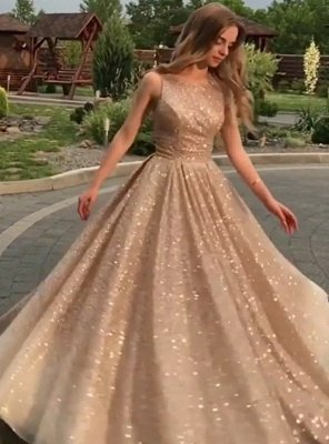 Open Back Champagne Gold Sequins Prom Dresses  | Sleeveless Long Cheap Formal Gowns BC0562_3