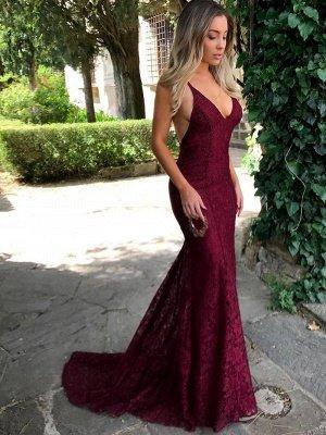 Simple Burgundy Lace Straps Sleeveless Mermaid Backless Prom Dress BA7196_1