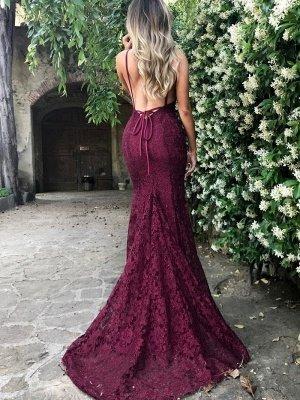 Simple Burgundy Lace Straps Sleeveless Mermaid Backless Prom Dress BA7196_4