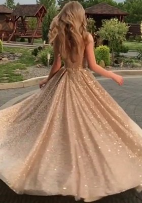 Open Back Champagne Gold Sequins Prom Dresses  | Sleeveless Long Cheap Formal Gowns BC0562_5