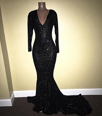 V-Neck Sequins Mermaid Long Sleeve Shiny Black Long Prom Dresses Cheap | Black Prom Dresses Cheap_4