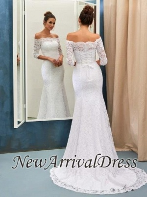 Sexy Off The Shoulder Lace Wedding Dresses with Half Sleeve   Lace Up Mermaid Cheap Simple Bridal Gowns_1