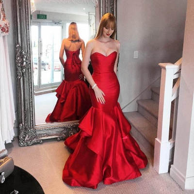 Sweetheart Elegant Red Mermaid Tiered Ruffles Prom Dresses_3