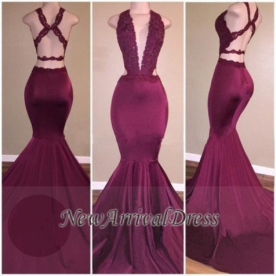 Mermaid Deep V-Neck Beads Cris-cross Back Long Prom Dresses Cheap_1