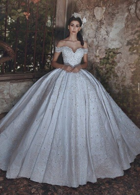 New Arrival Off-the-Shoulder Lace Wedding Dresses Crystal Lace-Up Ball Bridal Gowns_1
