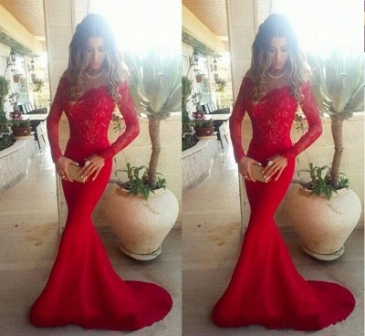 Lace ShoulderGowns the Evening Mermaid Red Sleeves Long Sexy Off Long Prom Dresses_3