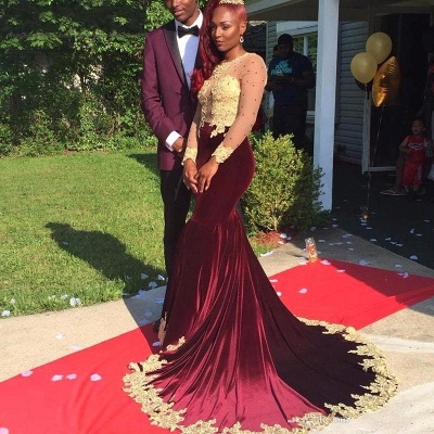 Appliques Long-Sleeve Velvet Burgundy Gorgeous Prom Dress_2
