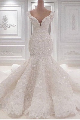 New Arrival Mermaid Sleeveless Wedding Dresses Online | Elegant V-Neck Lace Crystal Bridal Gowns_1