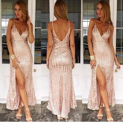 Spaghetti Straps Sexy V-neck Formal Dress Sequins Open Back Prom Dress with Split BA3044_2