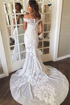 Off The Shoulder Illusion Tulle Bridal Dresses   Lace Appliques Mermaid Buttons Wedding Dresses_4