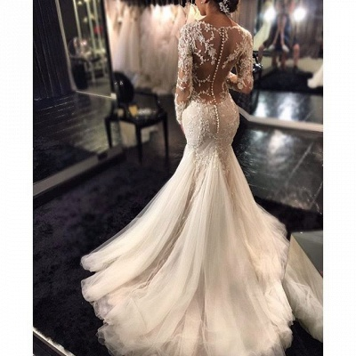 Sexy Mermaid Beading V-Neck See Through Lace Long Sleeve Wedding Dresses Cheap Online_4