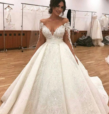 Long Sleeve Sexy Ball Gown Wedding Dresses | Sheer Tulle Lace Appliques Cheap Bridal Gowns_3