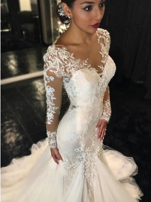 Sexy Mermaid Beading V-Neck See Through Lace Long Sleeve Wedding Dresses Cheap Online_3