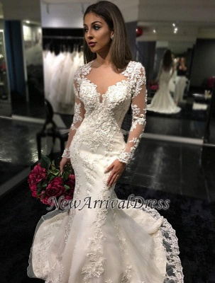 Mermaid Appliques Tulle Mermaid Charming Sheer Tulle Long Sleeves Bridal Dresses_1