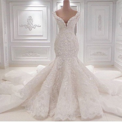 New Arrival Mermaid Sleeveless Wedding Dresses Online | Elegant V-Neck Lace Crystal Bridal Gowns_3
