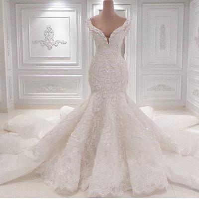 Neue Ankunft Meerjungfrau ärmellose Brautkleider Online | Elegante V-Ausschnitt Spitze Kristall Brautkleider_3