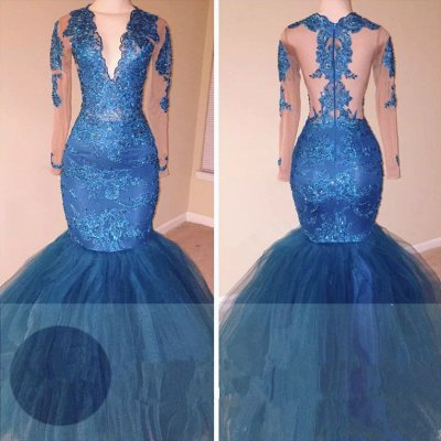 Ocean Blue Tulle Mermaid Long Sleeve Long Prom Dresses Cheap   V-neck Lace Appliques Plus Size Formal Evening Gowns BA6083_2