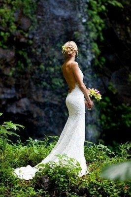 Mermaid Ruffles Lace Spaghetti Straps Bridal Gowns   Sweep Train Sleeveless Wedding Dresses Cheap_4
