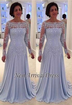A-line Elegant Lace Long-Sleeve Mother-the-bride Dress | Plus Size Prom  Dress