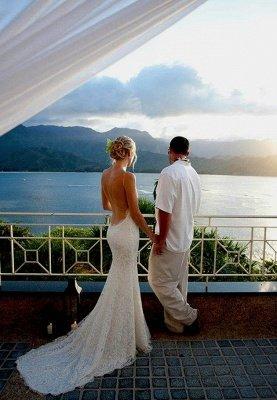 Mermaid Ruffles Lace Spaghetti Straps Bridal Gowns   Sweep Train Sleeveless Wedding Dresses Cheap_5