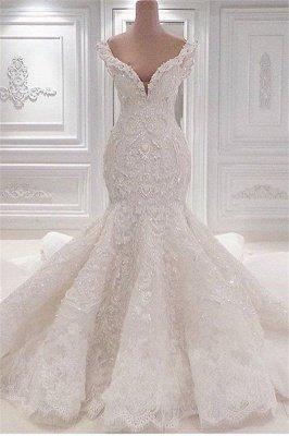 Robes de mariée nouvelle arrivée sirène en ligne   Robes de mariée en cristal de dentelle v-cou élégant_1