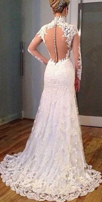 New Arrival Sheath High Collar Lace Wedding Dress Long Sleeve Custom Made Bridal Gown