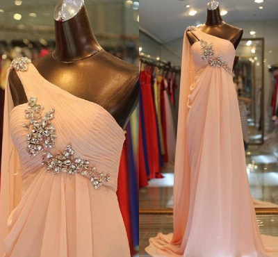 New Sweet Prom Gowns A Line One Shoulder Sweep Train Chiffon Beading Popular Evening Dresses_2