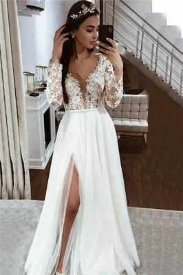 A-line Lace Appliques Cheap Wedding Dresses | V-neck Side Split Long Sleeve Bridal Gowns_1