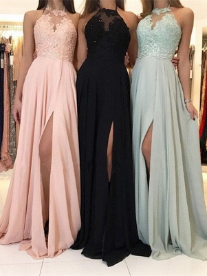 Elegant Halter Lace Evening Dress | 2019 Long Chiffon Prom Dress With Slit_1