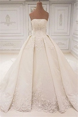 Elegant Strapless Lace Wedding Dresses 2019 | Glamorous Overskirt Bridal Ball Gowns_1