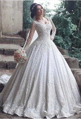 Beautiful Long Sleeve LaceWedding Dress Ball Gown Floor Length BA3046