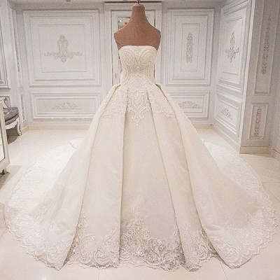 Elegant Strapless Lace Wedding Dresses 2019 | Glamorous Overskirt Bridal Ball Gowns_3
