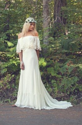 Sesxy Cheap Bohemian Wedding Dresses | Off The Shoulder Boho Beach Wedding Gown BO6883_3